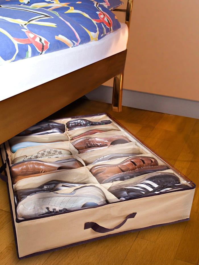 2er-Set Unterbett-Schuhkommoden, beige/braun