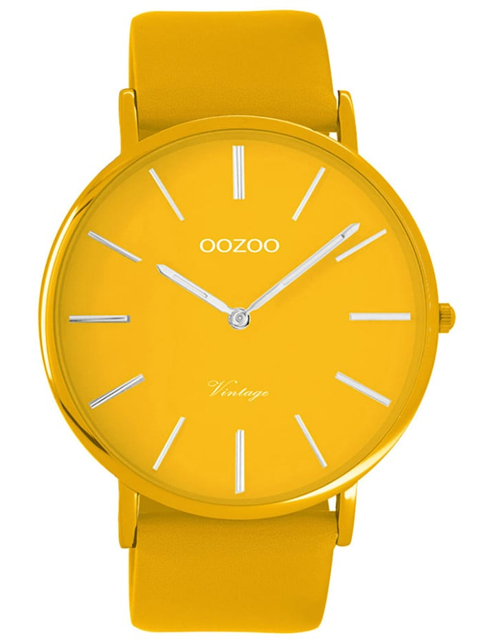 OOZOO Armbanduhr mit Lederband Senfgelb 44 mm, Gelb