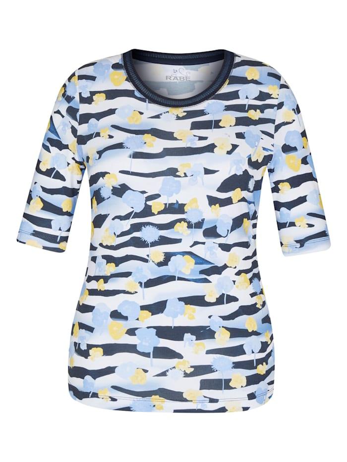 Rabe Shirt mit geblümtem Muster und Rundhalsausschnitt, MARINE