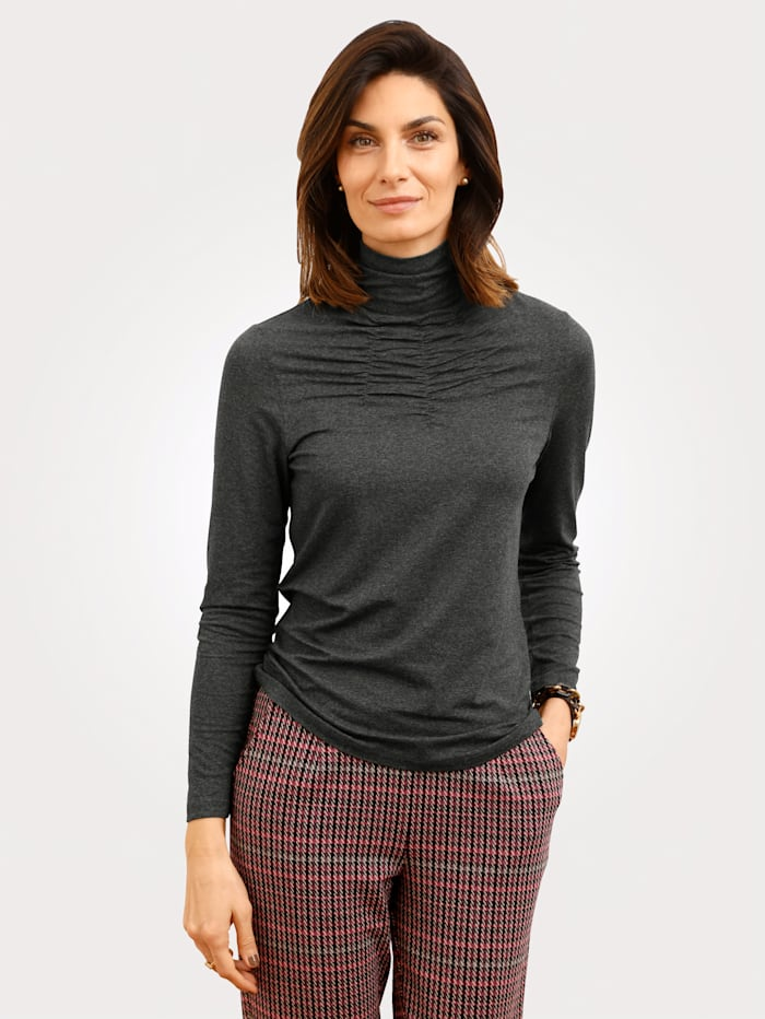 MONA Top with ruche detail, Anthracite