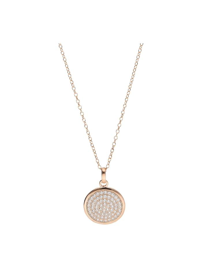 Smart Jewel Kette Plättchen rund mit Zirkonia Steinen, Silber 925 rosè vergoldet, Rosé vergoldet