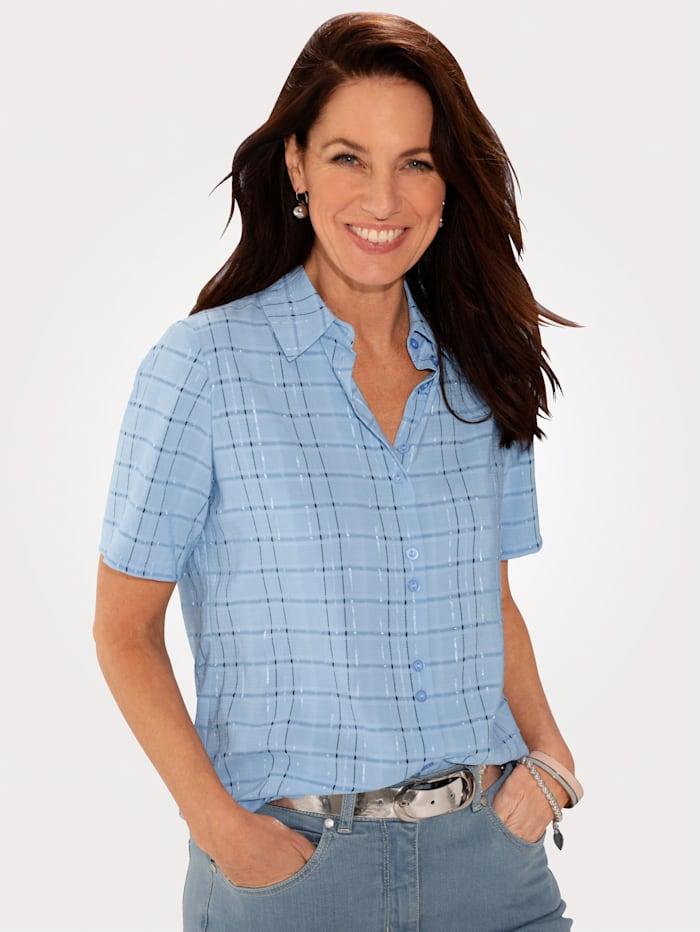 MONA Bluse mit durchgehender Knopfleiste, Hellblau/Schwarz/Silberfarben