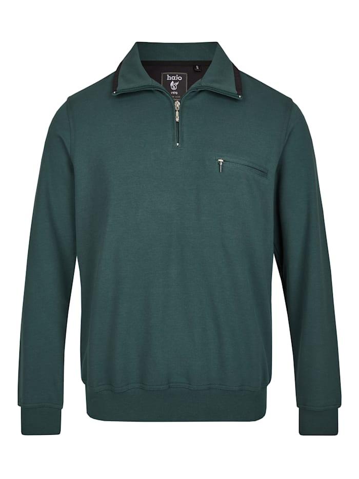 Hajo Sweatshirt mit Troyerkragen, dunkelgrün