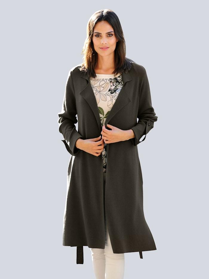 Alba Moda Vest in lang model, Kaki