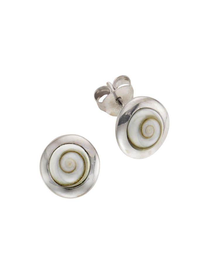 ZEEme Ohrstecker 925/- Sterling Silber Muschel weiß 1,5cm rhodiniert 925/- Sterling Silber, weiß