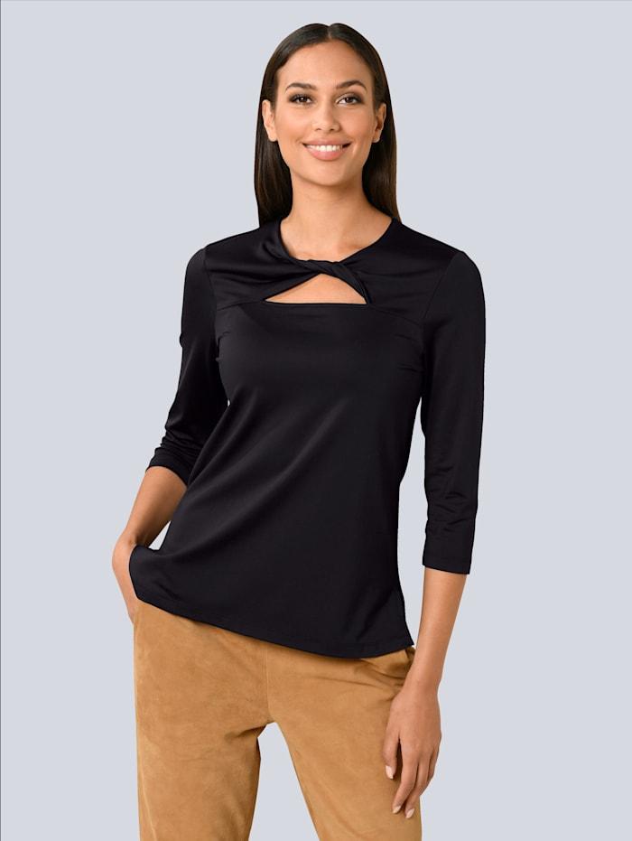 Alba Moda Shirt mit modischer Ausschnittlösung, Schwarz