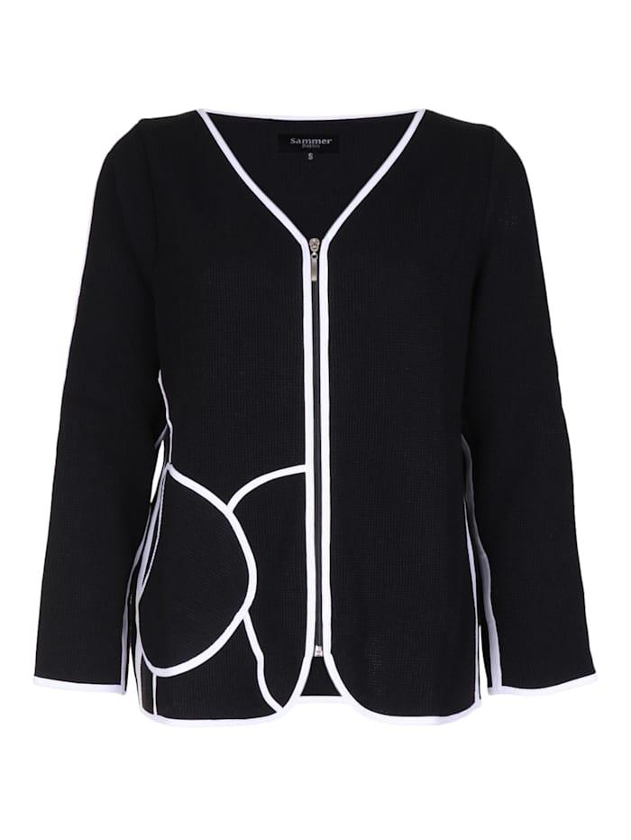 Sammer Berlin Strickjacke mit runder Tasche Dekorative Nähte, schwarz/weiß