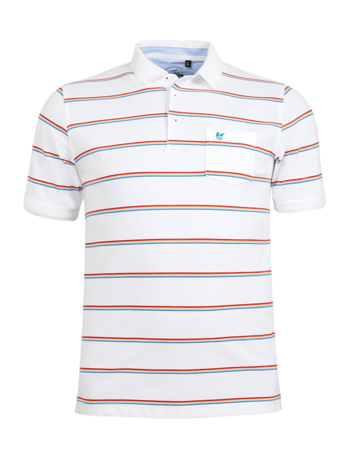Hajo Gestreiftes Pikee-Poloshirt, weiß