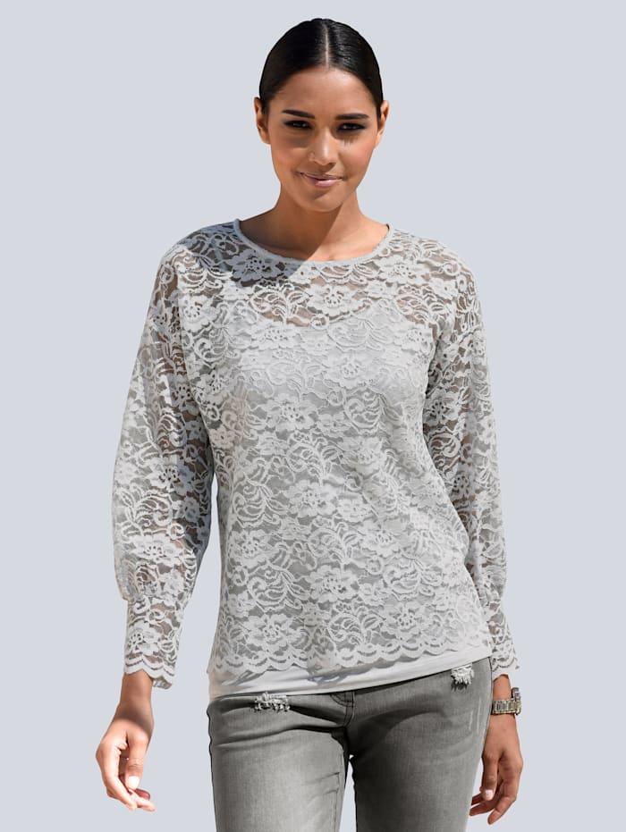 Alba Moda Shirt aus transparenter Spitze, Grau