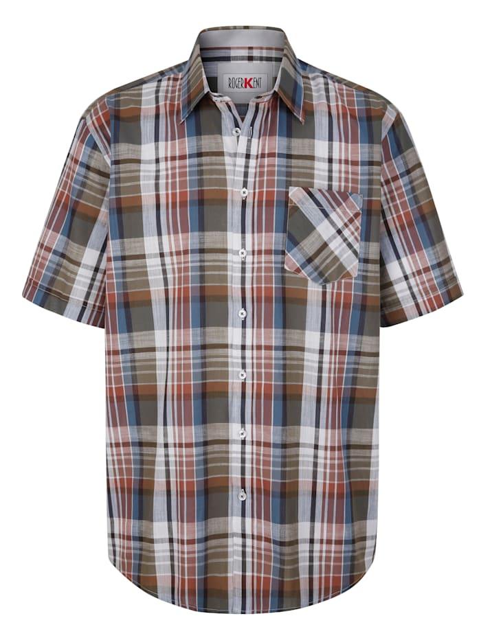 Roger Kent Overhemd met ingeweven ruitpatroon, Bruin