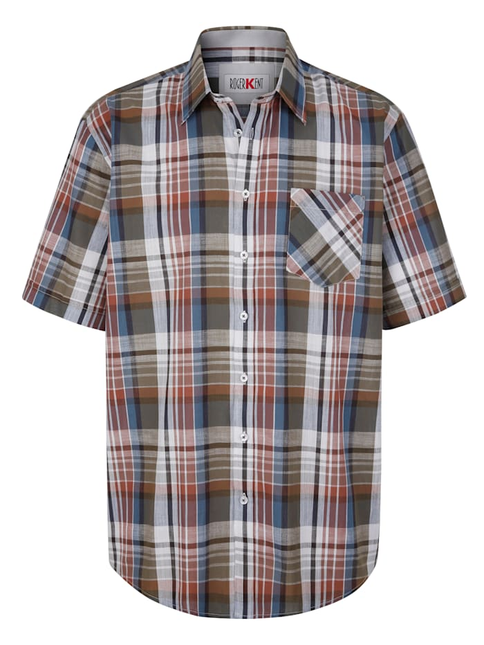 Roger Kent Skjorte med garnfarget rutemønster, Brun