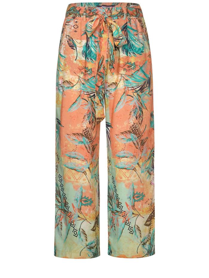 Cecil Wide Leg Hose mit Muster mit Multicolour Muster, cantaloupe orange