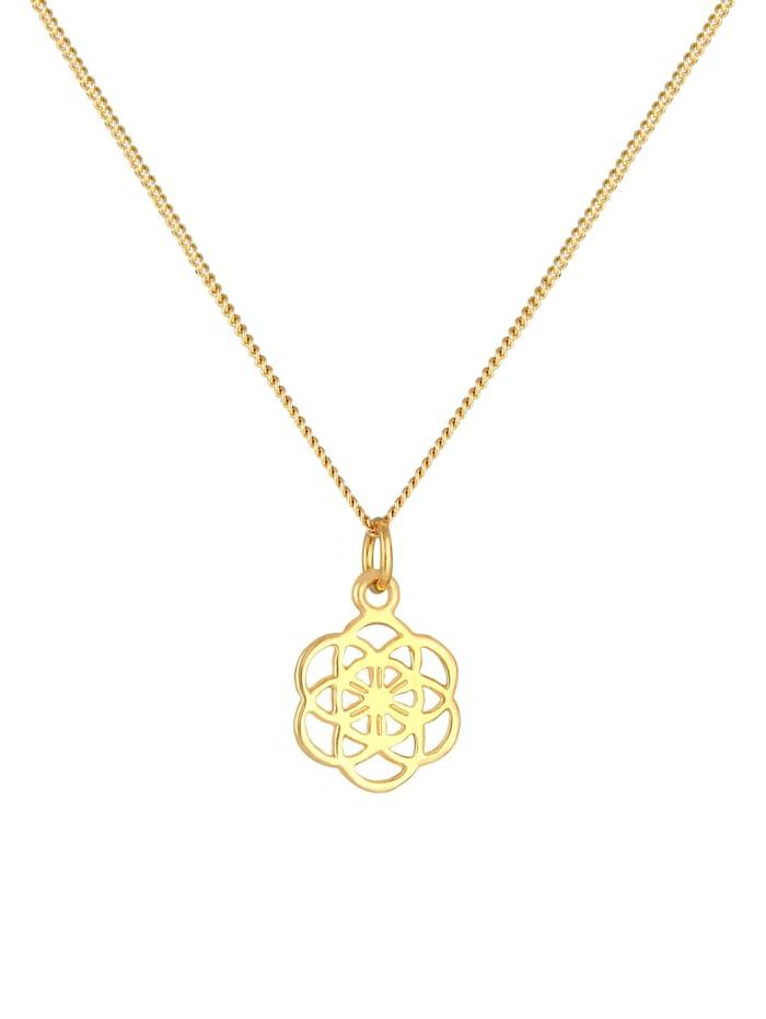 Halskette Blume Des Lebens Ornament Symbol Flower 925 Silber