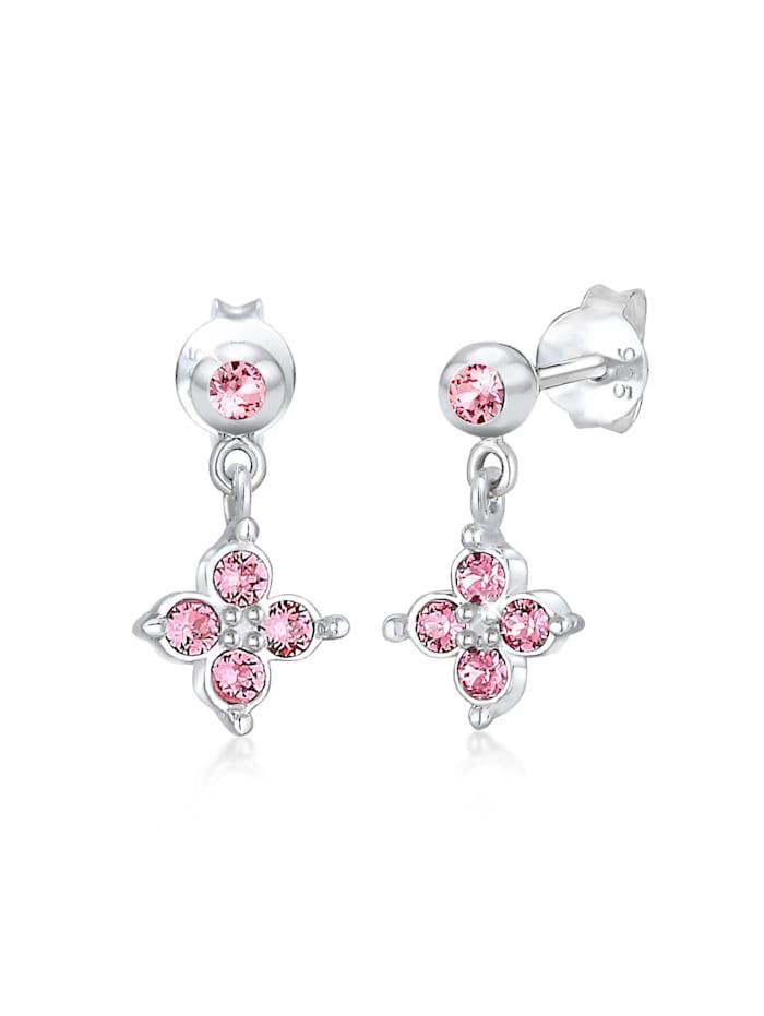 Elli Ohrringe Kinder Blume Kristalle Süss 925 Silber, Rosa