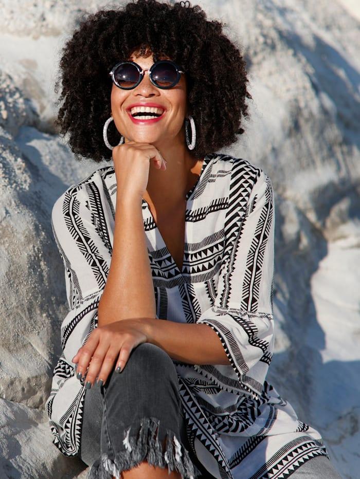 Angel of Style Tunika in kaschierender Schnittform, Schwarz/Off-white