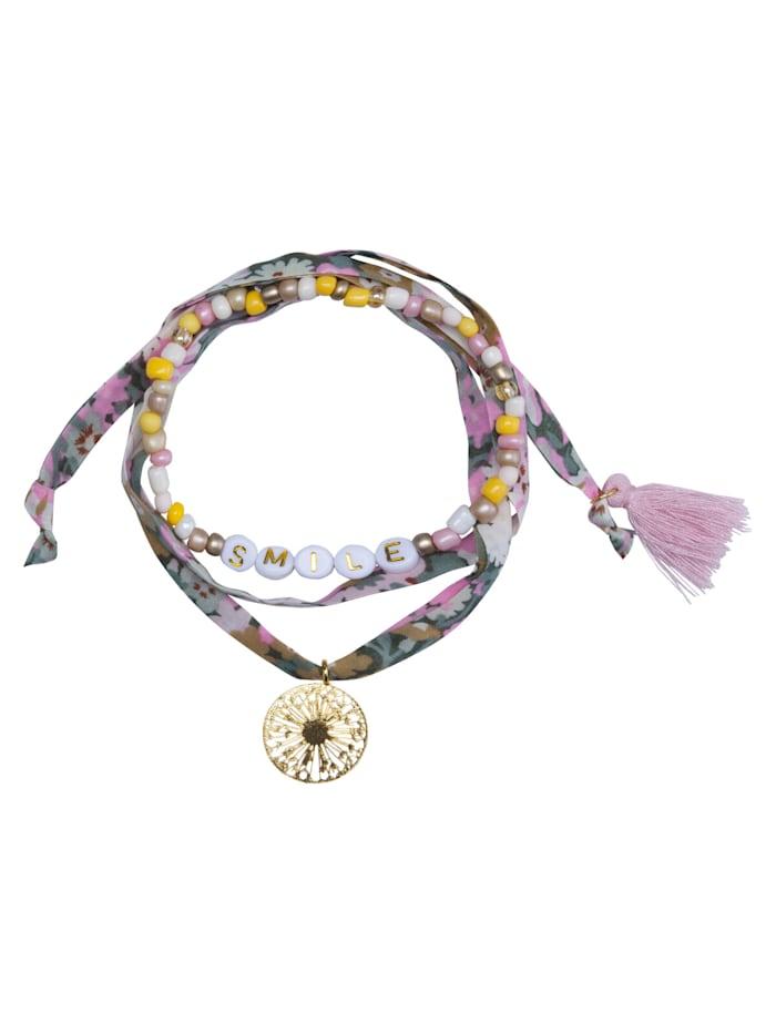 Codello Handgefertigtes Perlen- und Bändchenarmband, beige