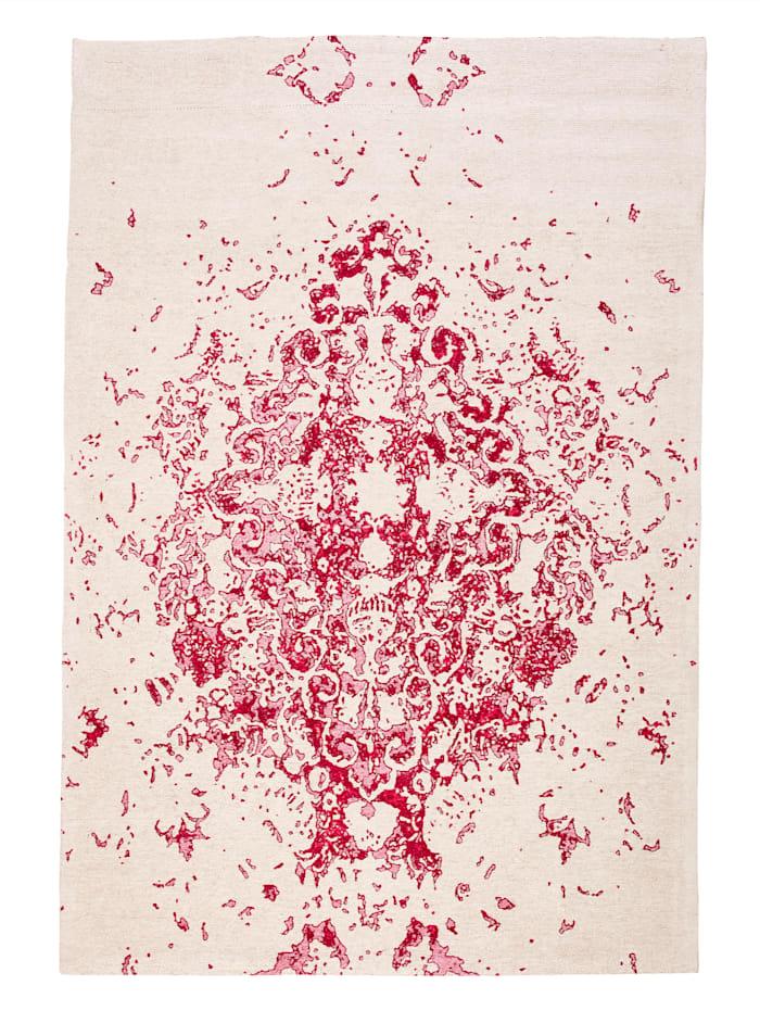 Kayoom Flachflorteppich Richard, Elfenbein / Pink