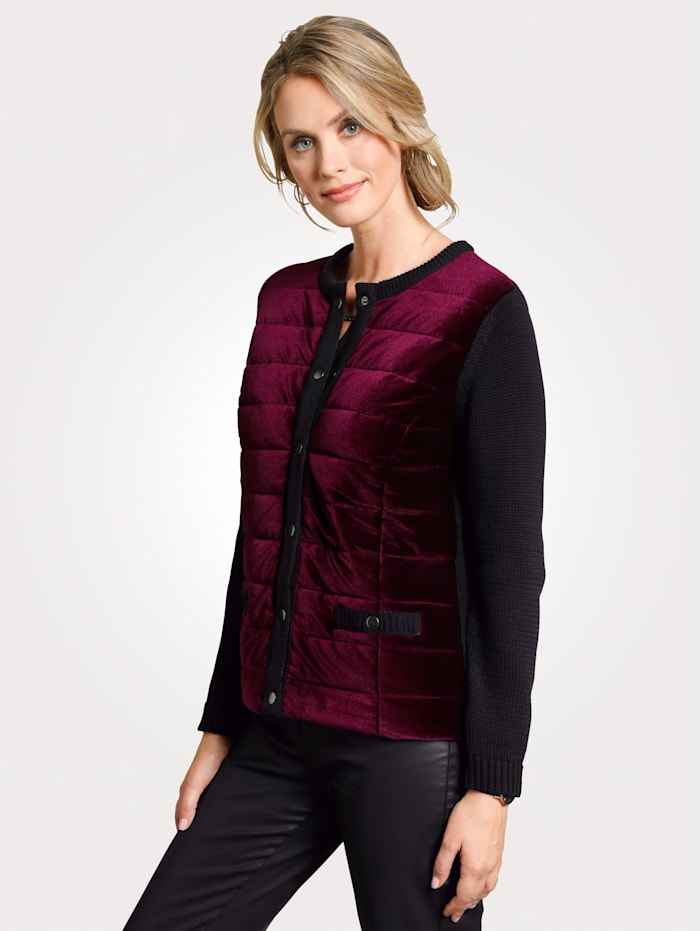Cardigan with elegant velvet inserts