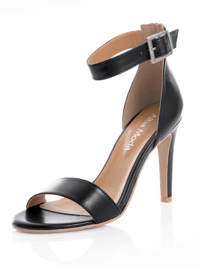 Alba Moda Sandaaltje van geitennappa, Zwart