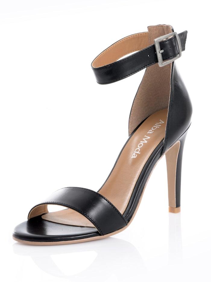 Alba Moda Sandalette aus Ziegennappaleder, Schwarz