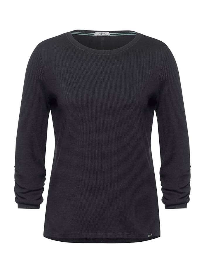 Cecil Shirt mit Waffel-Struktur, carbon grey