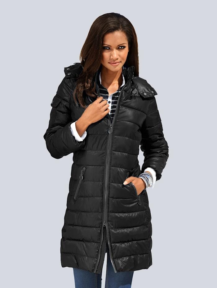 Alba Moda Gewatteerde jas met afknoopbare capuchon, Zwart
