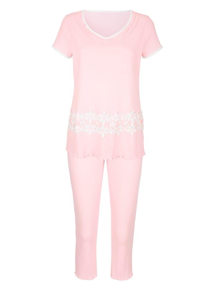 Simone Pyjama van comfortabele geribde jersey, poeder/ecru