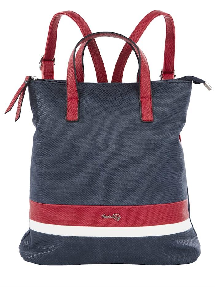 Taschenherz Rucksack in harmonischer Farbgebung, marine/rot