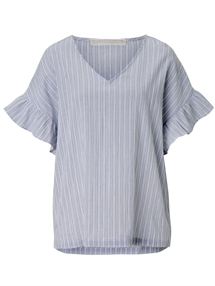 Mellow Peach Pyjama-Top mit Streifen und Rüsche, Weiß