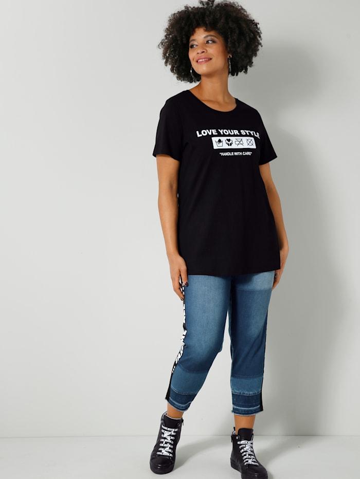 Jeans met modieus tape opzij