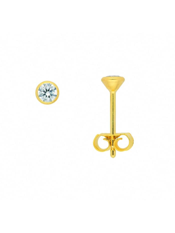 1001 Diamonds Damen Goldschmuck 585 Gold Ohrringe / Ohrstecker mit Zirkonia Ø 3,5 mm, gold