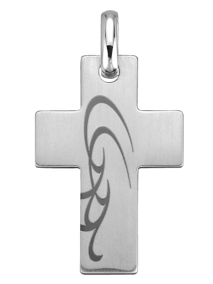 Adamo Kreuz-Anhänger mit Lasergravur, Weiß