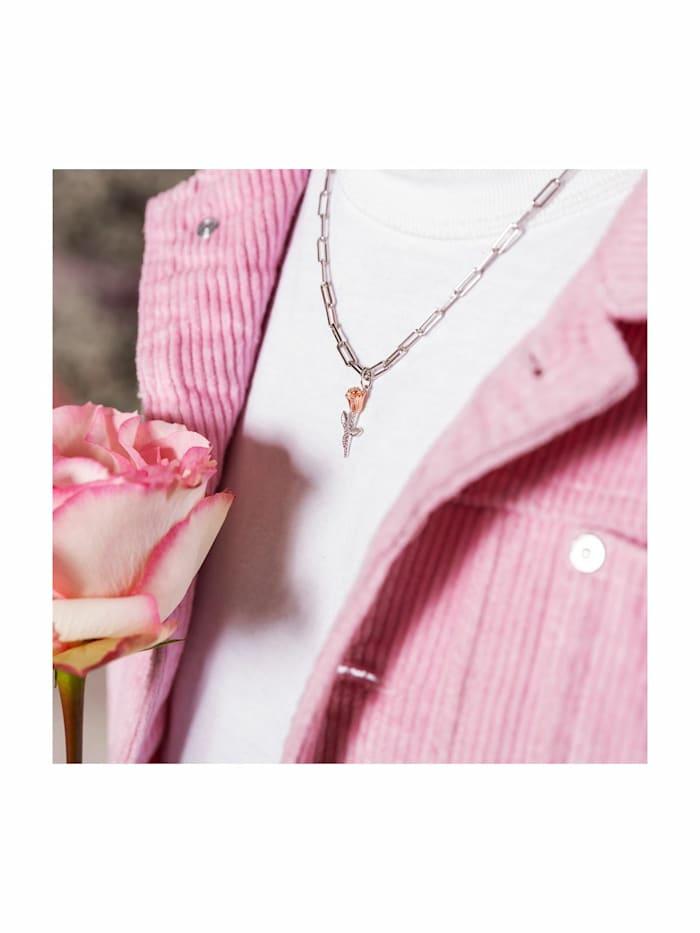 THE ROSE Kette mit Anhänger für Damen, Sterling Silber 925, Rose
