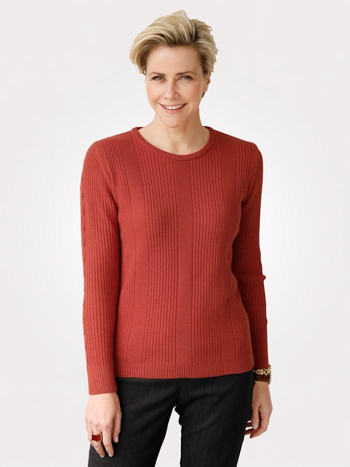 MONA Pullover mit Strukturstrick, Rost