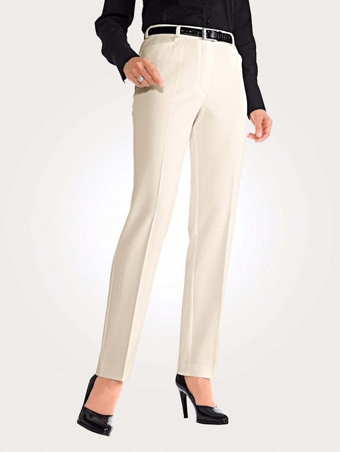 MONA Pantalon en matière stretch, Blanc cassé