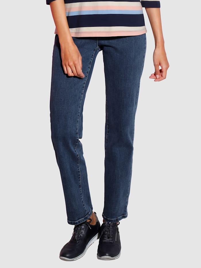 Paola Raka jeans med broderi på bakfickan med bekväm passform, Blå