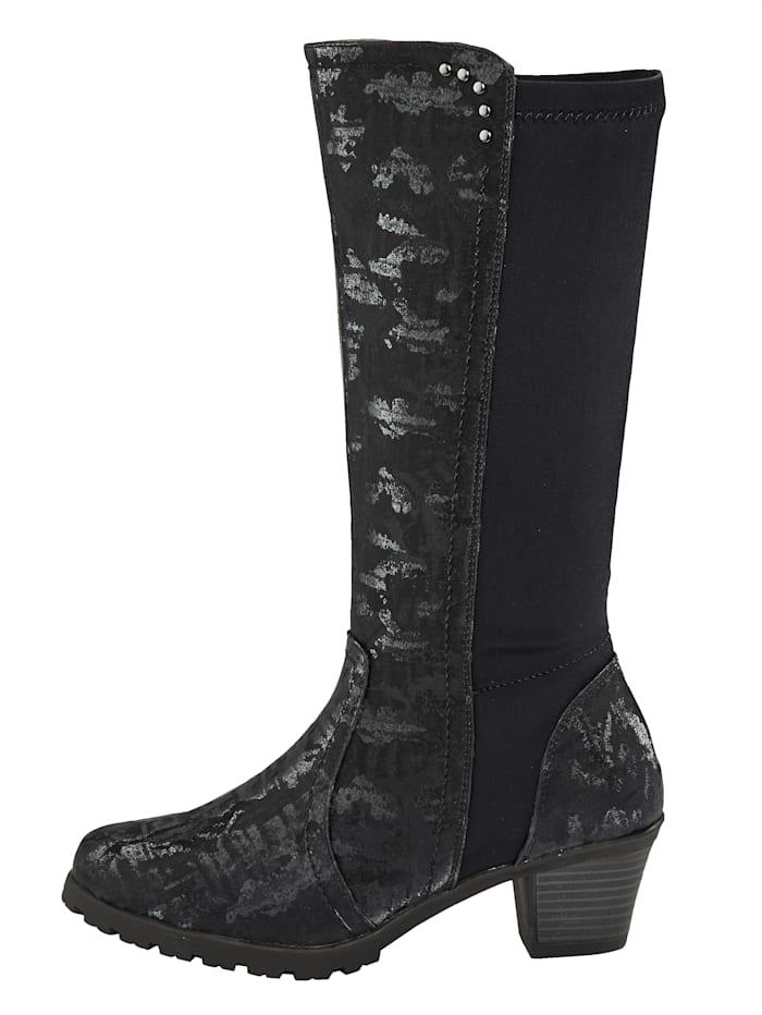 Stiefel mit Elasteinsatz für gute Passform im Wadenbereich