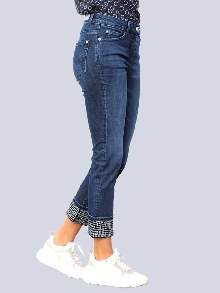 Alba Moda Jeans mit Paillettenverzierung am Saumaufschlag, Dark blue