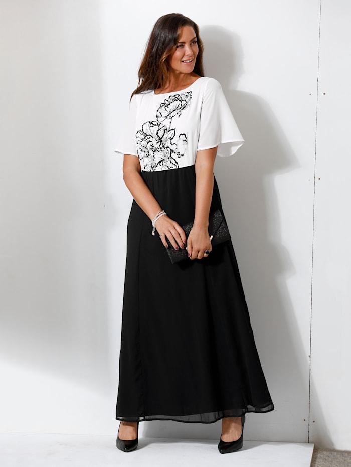MIAMODA Abendkleid mit floraler Stickerei und Pailletten besetzt, Weiß/Schwarz