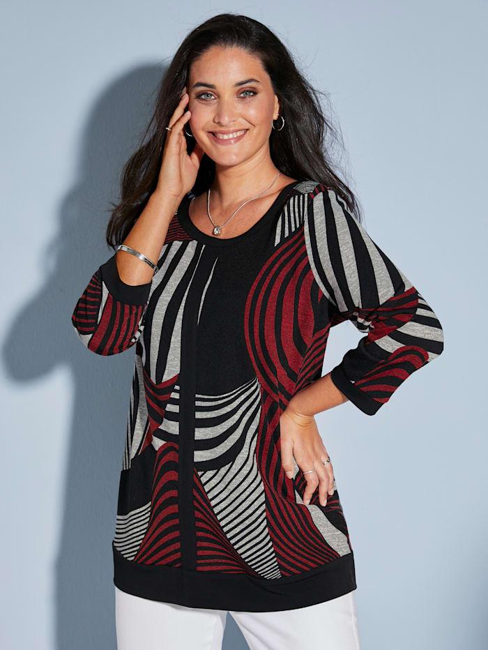 MIAMODA Shirt met grafisch patroon, Grijs/Zwart/Rood