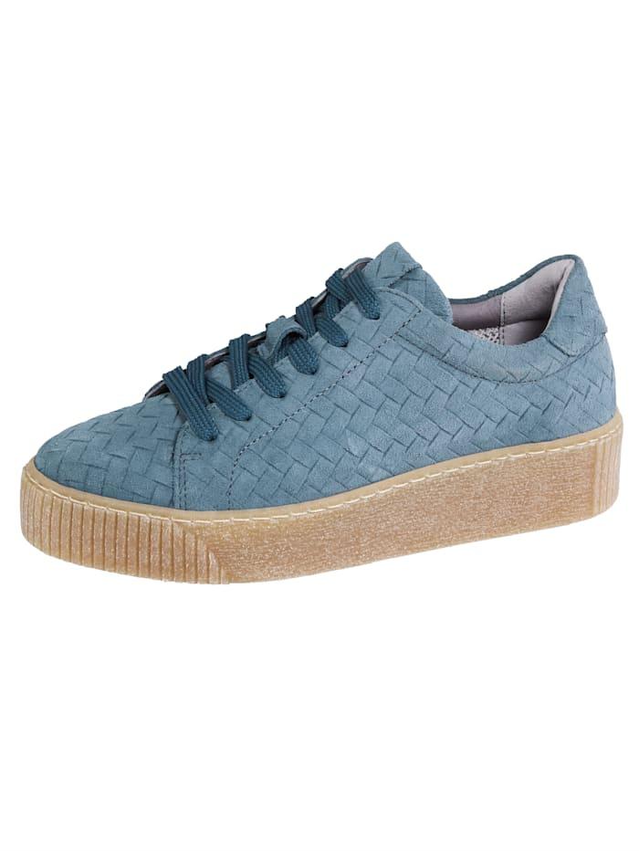 Liva Loop Sneaker in mooie gevlochten look, Lichtblauw