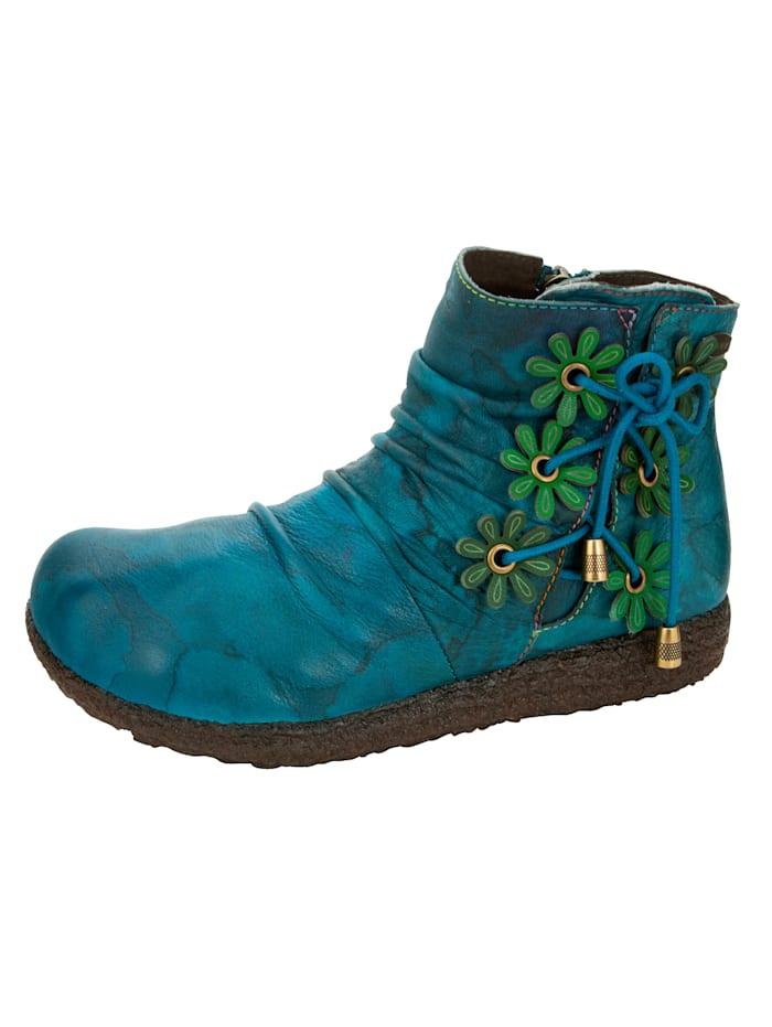 Laura Vita Bottines avec application florale, Turquoise
