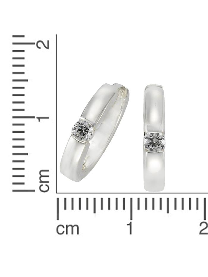 Creolen 925/- Sterling Silber Zirkonia weiß 1,6cm Glänzend 925/- Sterling Silber