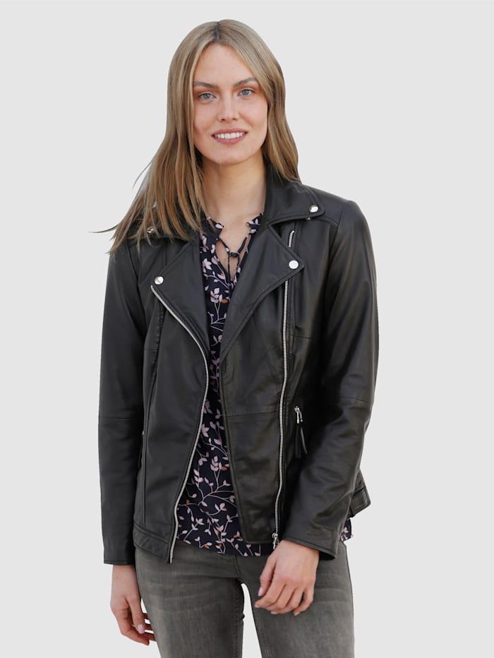 Laura Kent Skinnjacka i klassisk mc-modell, Svart