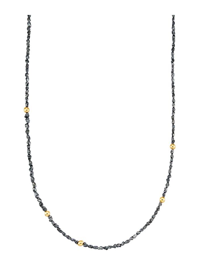 Halskette mit Rohdiamanten, Schwarz