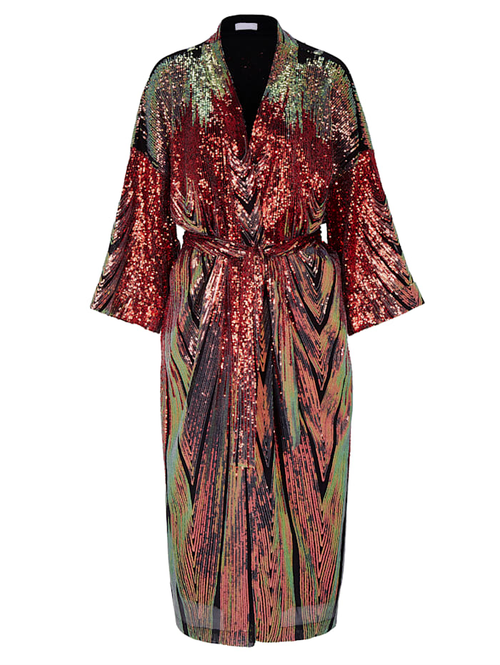 Lala Berlin Kimono mit Pailletten, Rot