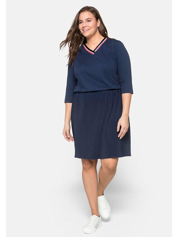 Sheego Kleid mit plissiertem Rock, marine