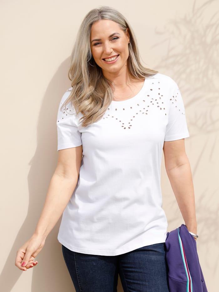MIAMODA Shirt mit Lochstickerei, Weiß