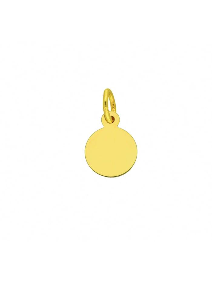1001 Diamonds Damen Goldschmuck 333 Gold Gravurplatte Anhänger Ø 8 mm, gold
