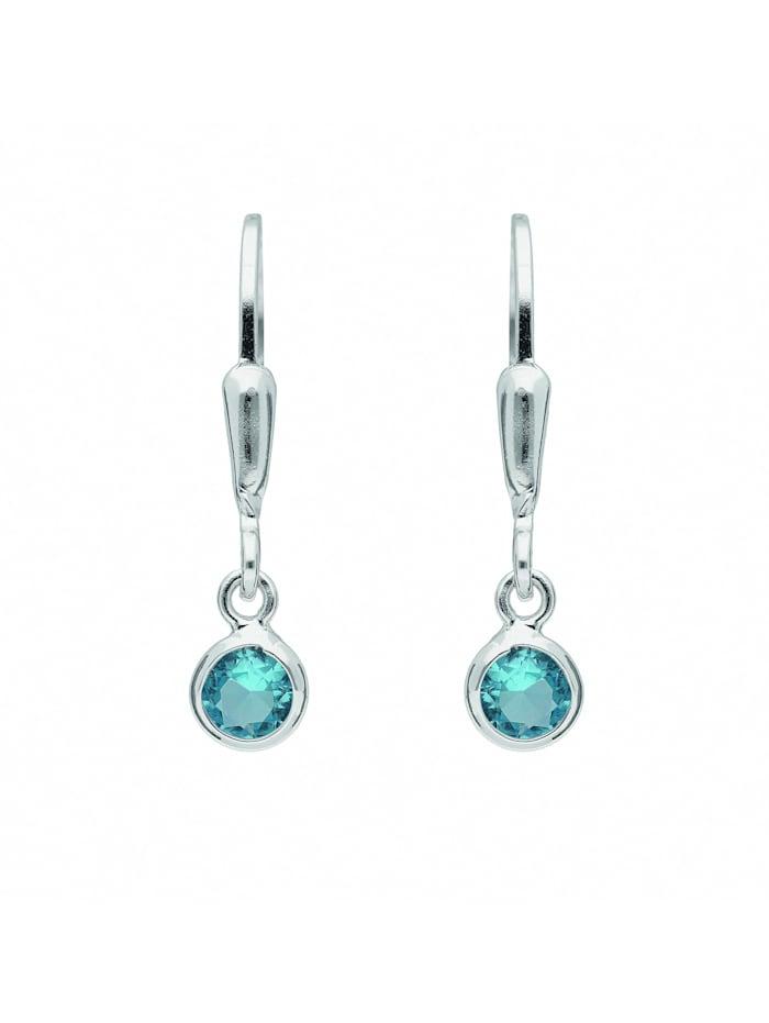 1001 Diamonds Damen Silberschmuck 925 Silber Ohrringe / Ohrhänger mit Zirkonia Ø 4,6 mm, blau
